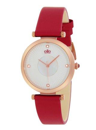 Dámské hodinky s červeným koženým páskem Elite