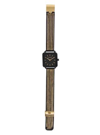 Dámské hodinky s nerezovým páskem v černo-zlaté barvě Clueless