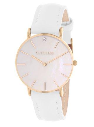 Dámské hodinky s bílým koženým páskem  Clueless