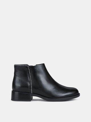 Černé dámské kožené kotníkové boty Geox Resia