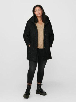 Černý kabát s příměsí vlny ONLY CARMAKOMA