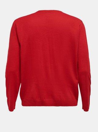 Červený sveter s vianočným motívom ONLY CARMAKOMA