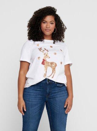Biele tričko s vianočným motívom ONLY CARMAKOMA