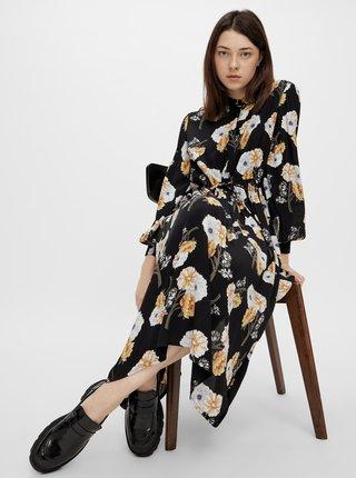 Černé květované košilové midišaty Pieces
