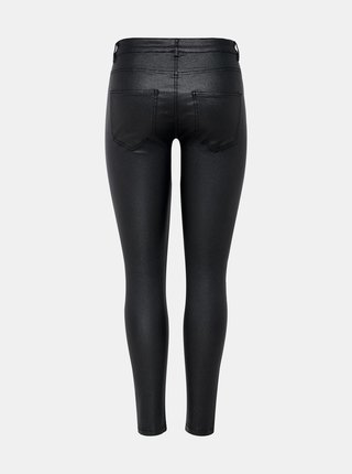 Čierne skinny fit nohavice s povrchovou úpravou Jacqueline de Yong