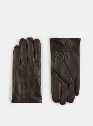 Hnedé kožené rukavice Burton Menswear London