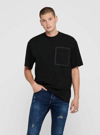 Čierne voľné tričko ONLY & SONS