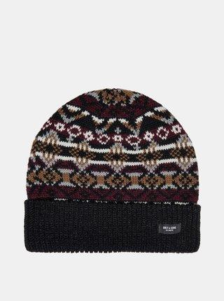 Čierna vzorovaná čiapka ONLY & SONS