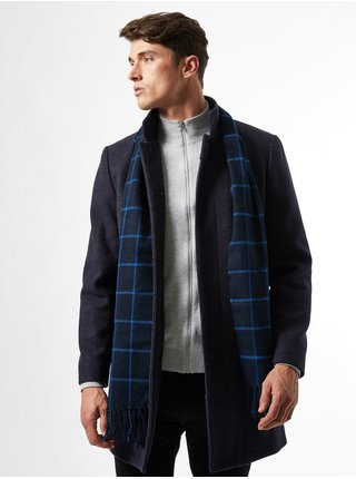 Tmavě modrá kostkovaná šála Burton Menswear London