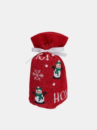 Červené ponožky s vianočným motívom Pieces