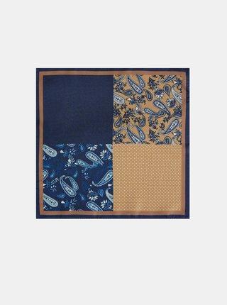 Modrá vzorovaná vreckovka do saka Burton Menswear London