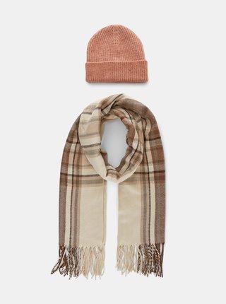 Sada čiapky a šálu v béžovej farbe Pieces