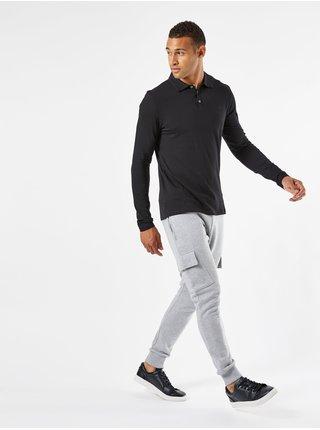 Černé polo tričko s dlouhým rukávem Burton Menswear London