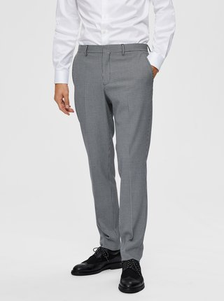 Šedé kockované oblekové nohavice Selected Homme