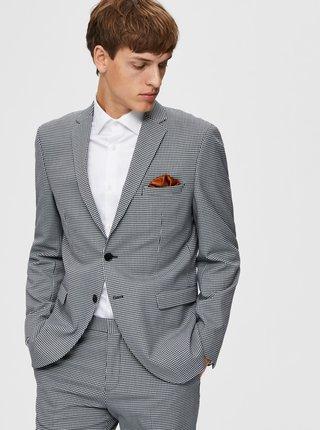 Šedé kockované oblekové sako Selected Homme