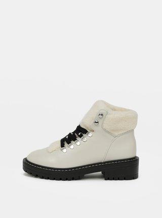 Krémové členkové zimné topánky ONLY