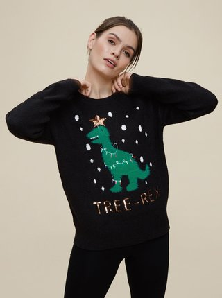 Černý vánoční svetr Dorothy Perkins