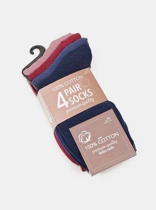 Sada štyroch párov dámskych ponožiek v čiernej a ružovej farbe Something Special