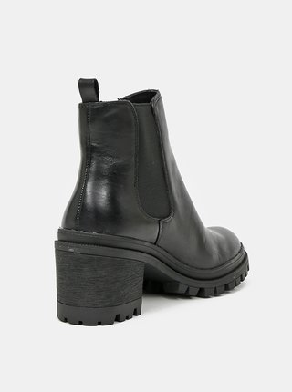 Černé dámské kožené chelsea boty Tamaris