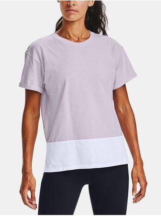 Fialové tričko Under Armour Charged Cotton SS