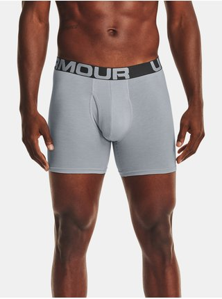 Šedé boxerky Under Armour UA Charged Cotton 6in 3 Pack