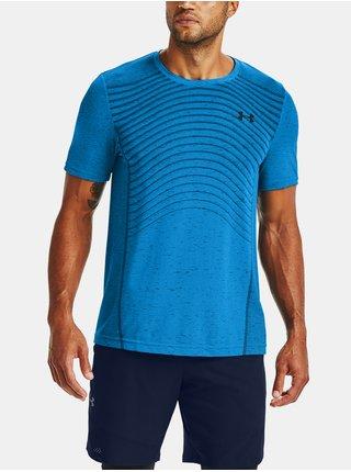 Modré tričko Under Armour Seamless Wave SS