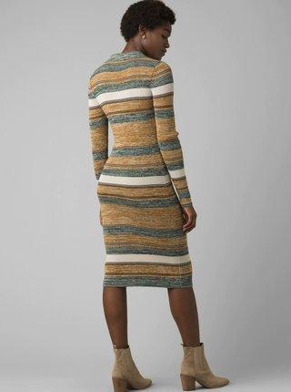 Hnedo-šedé pruhované svetrové šaty prAna