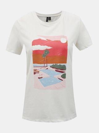 Bílé dámské tričko s potiskem VERO MODA Trisholly