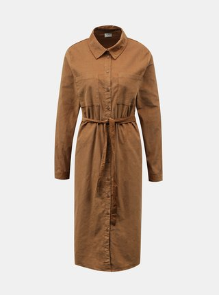 Hnědé manšestrové košilové šaty Jacqueline de Yong