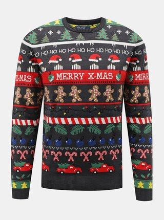 Šedý sveter s vianočným motívom Blend