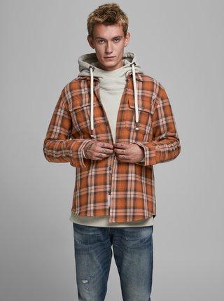 Oranžová kockovaná košeľa Jack & Jones