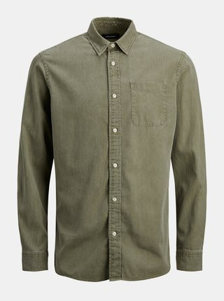 Kaki rifľová košeľa Jack & Jones