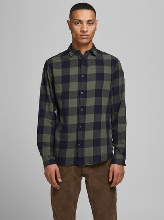 Khaki kostkovaná košile Jack & Jones