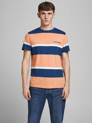 Oranžové pruhované tričko Jack & Jones