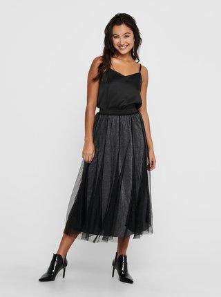 Černá třpytivá tylová midi sukně Jacqueline de Yong