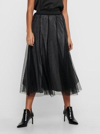 Čierna trblietavá tylová midi sukňa Jacqueline de Yong