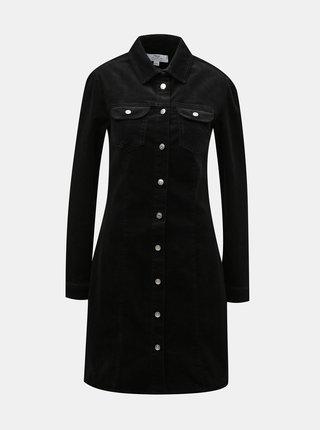 Čierne menčestrové košeľové šaty Dorothy Perkins Tall