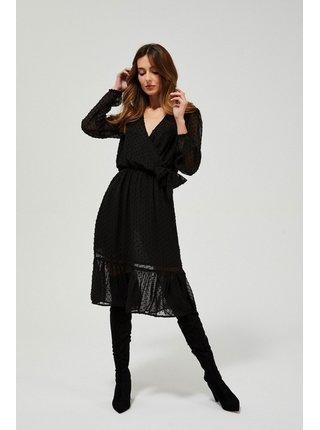 Moodo čierne bodkované šaty