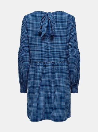 Modré volné kostkované šaty Jacqueline de Yong