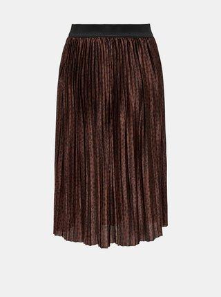 Hnědá vzorovaná plisovaná sukně Jacqueline de Yong