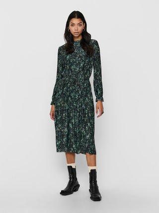 Zelené květované plisované midišaty Jacqueline de Yong