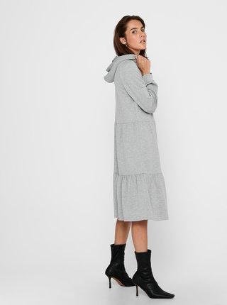 Světle šedé mikinové šaty s kapucí Jacqueline de Yong