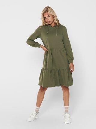 Khaki mikinové šaty s kapucí Jacqueline de Yong