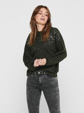 Kaki sveter s flitrami Jacqueline de Yong