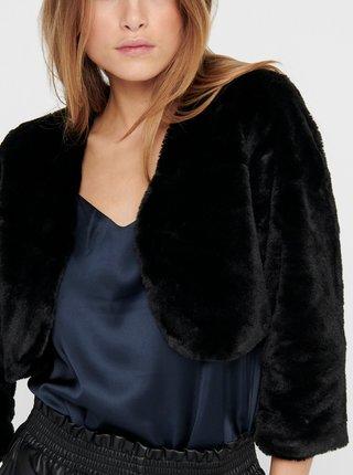 Černé bolerko z umělého kožíšku Jacqueline de Yong