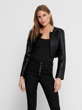 Černá krátká koženková bunda Jacqueline de Yong