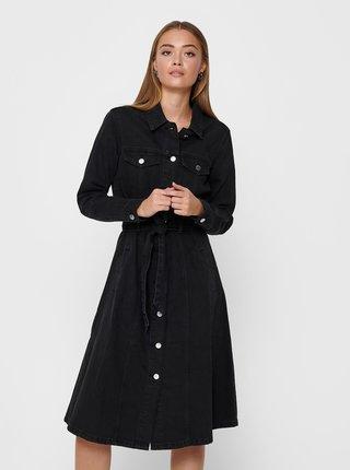 Černé džínové košilové šaty Jacqueline de Yong