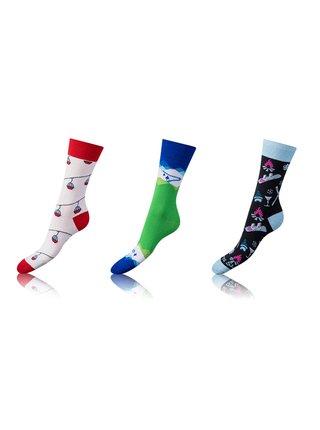 Zábavné crazy ponožky 3 páry - modrá - červená - černá Bellinda