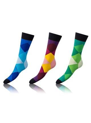 Zábavné crazy ponožky 3 páry - modrá - vínová - zelená Bellinda