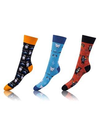 Zábavné crazy ponožky 3 páry - oranžová - světle modrá - hnědá Bellinda